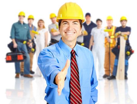 constructeur: Groupe industriel travailleurs. Banque d'images
