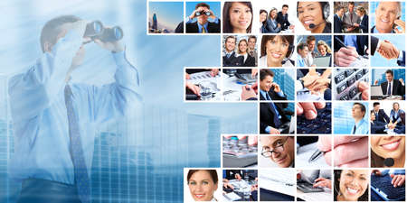 team vision: Business people group collage.