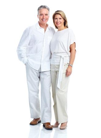 happy couple white background: Happy elderly couple. Stock Photo