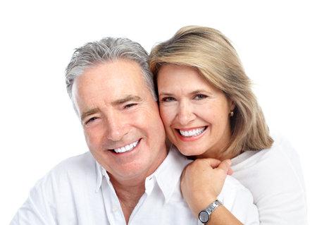 sonrisa: Feliz pareja de ancianos.