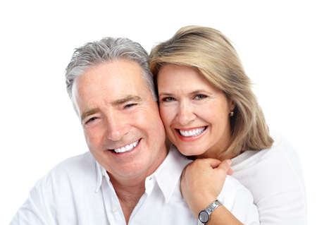 male dentist: Happy elderly couple. Stock Photo