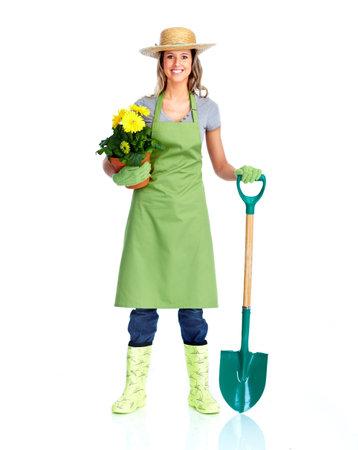 woman gardening: Young gardener woman. Stock Photo
