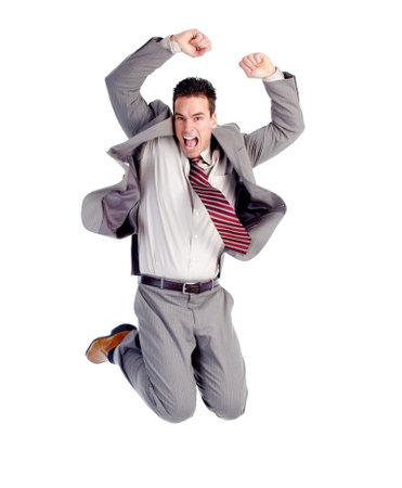jumping businessman: Happy jumping businessman. Stock Photo