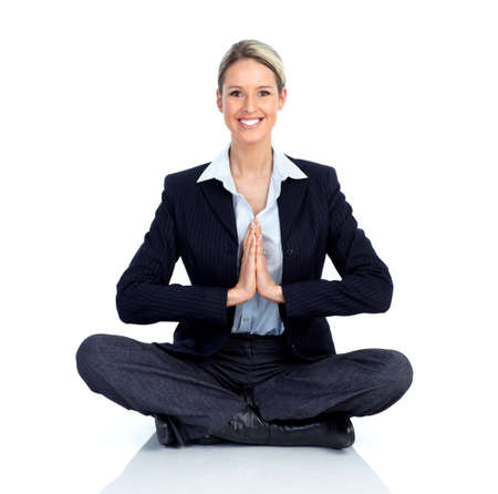 executive assistants: Business woman doing yoga.