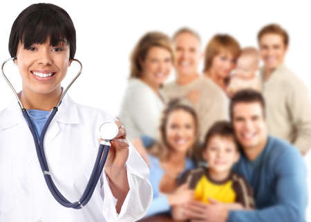 Family doctor and patients  Stock Photo