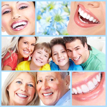 dental background: Happy people smile.