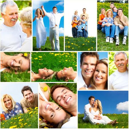 pareja saludable: La gente del collage feliz. Foto de archivo
