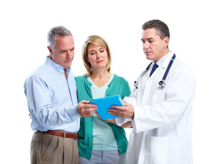 sick person: Doctor and patient senior couple. Stock Photo