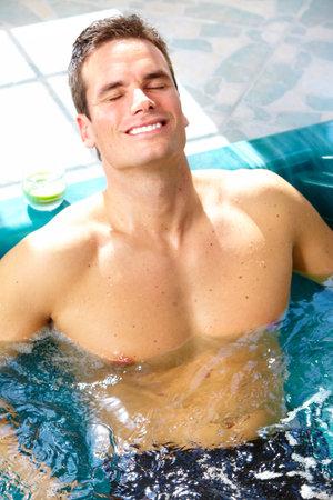 Man in hot tub. Stock Photo - 12137618