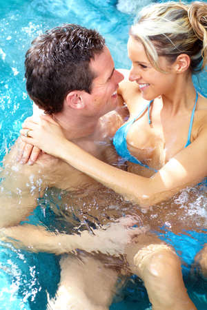 hot tub: Couple in hot tub. Stock Photo
