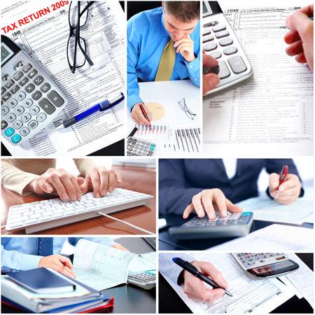 expert comptable: Collage d'affaires. Banque d'images