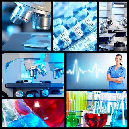 Scientific background collage. 스톡 콘텐츠