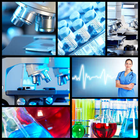 examenes de laboratorio: Collage de formación científica.