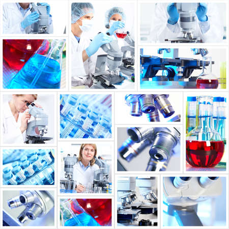 medical doctors: Scientific background collage. Stock Photo