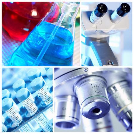 microscope lens: Scientific background collage. Stock Photo