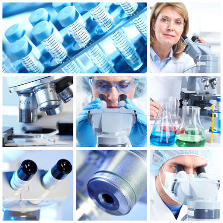 technology collage: Scientific background collage. Stock Photo
