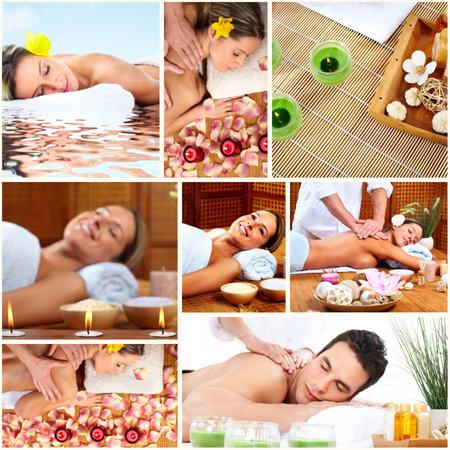 homme massage: Fond Spa collage de massage.