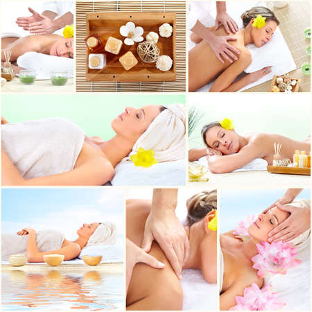 'personal beauty': Spa massage collage background.