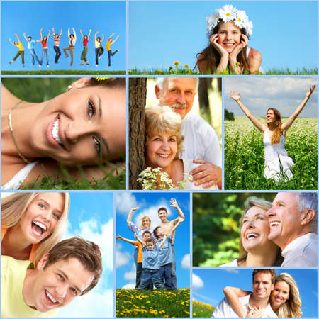 healthy person: Happy people collage.