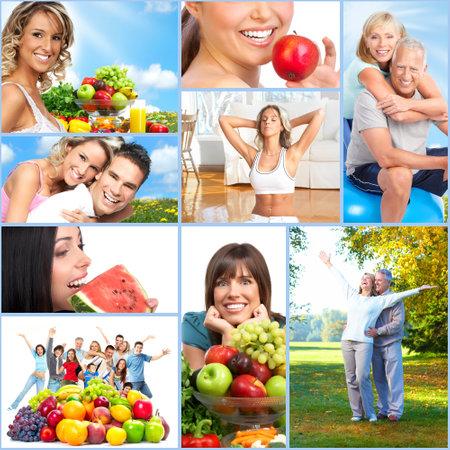 personas saludables: Collage feliz a las personas sanas. Foto de archivo