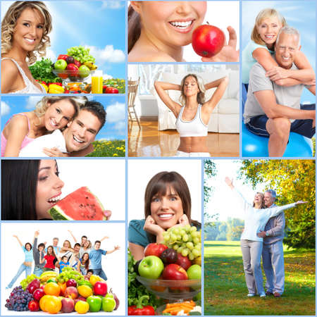lifestyle: Happy healthy people collage. Stock Photo