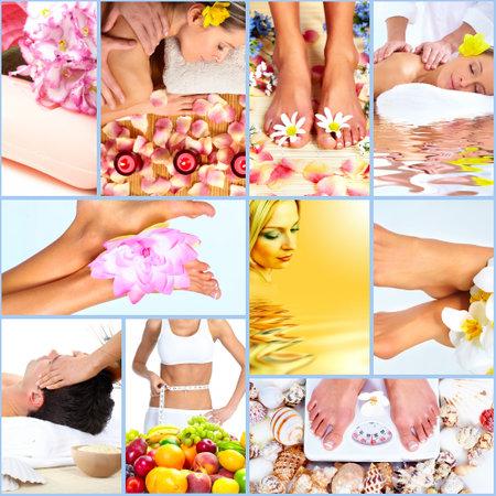 dayspa: Spa massage collage background.