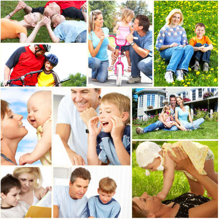 collage people: Happy family collage. Stock Photo