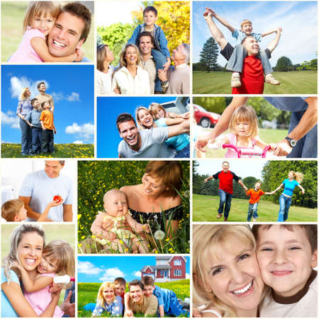 health collage: Happy family collage. Stock Photo