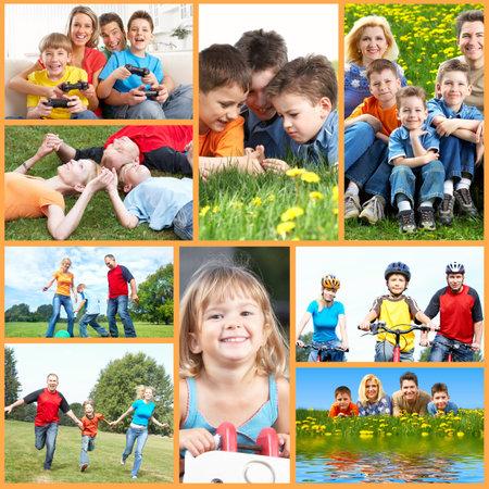 family health: Happy family collage. Stock Photo