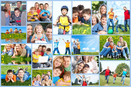 weekends: Happy family collage. Stock Photo