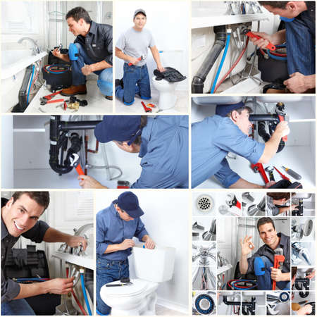 stoppage: Professional plumber. Stock Photo