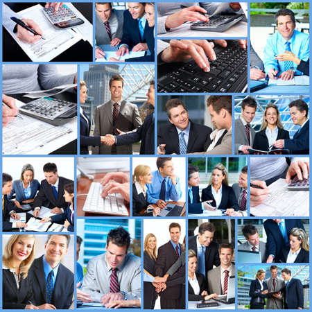 woman typing: Business people collage.