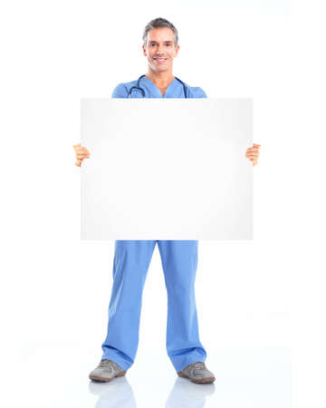 health care worker: Doctor with banner. Stock Photo