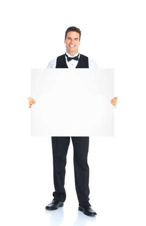 Waiter man with placard. photo