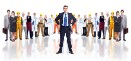 Businessman and group of workers.