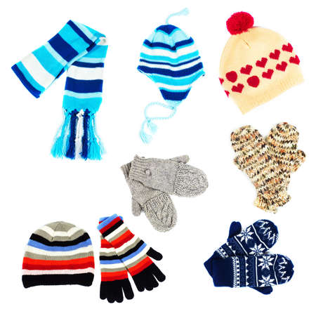 mittens: Set of hats. Stock Photo