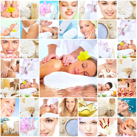 beauty salon face: Spa massage collage background.