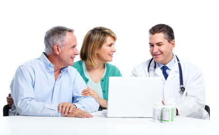 family doctor: Doctor and patient senior couple. Stock Photo