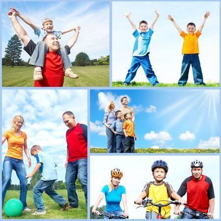 active life: Happy family collage. Stock Photo