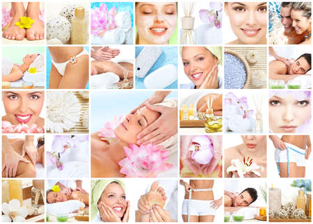 Spa massage collage background. Stock Photo - 12378960