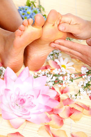 holistic therapy: Foot massage. Stock Photo