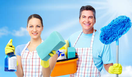 Domestic cleaning: Professional cleaners team.
