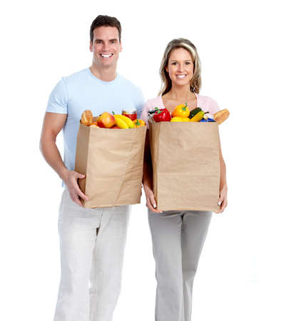 Couple with grocery bag. photo