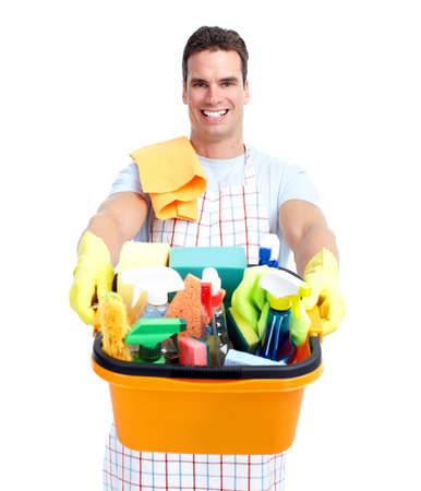 housemaid: Young smiling cleaner man. Stock Photo