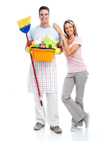 Cleaner man and woman. photo