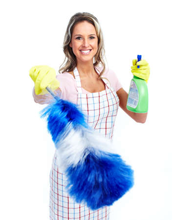 working woman: Young smiling cleaner woman. Stock Photo