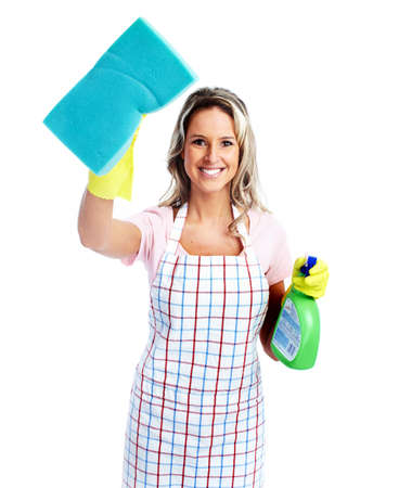 Domestic cleaning: Young smiling cleaner woman. Stock Photo