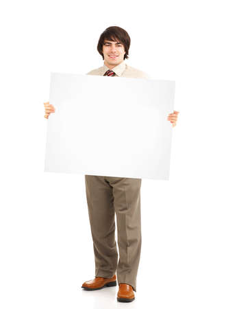 paper board: Happy businessman with banner.
