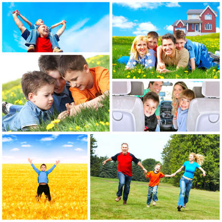 community health: Happy family collage. Stock Photo