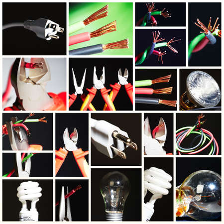 hardware: Collage of electrical instruments. Stock Photo